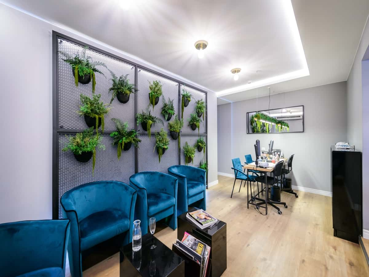 Unique stabilized plants in beauty salon