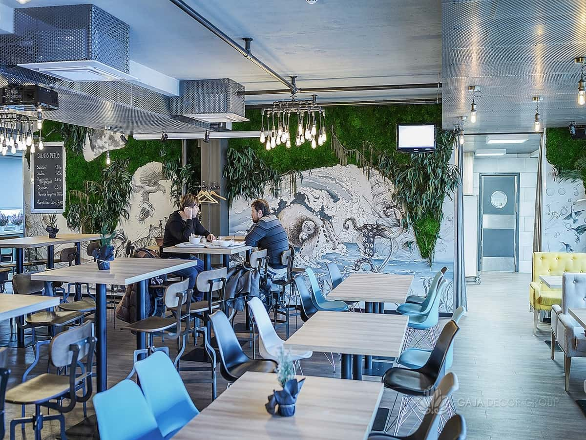 Restaurant decoration with forest plants gaja decor group