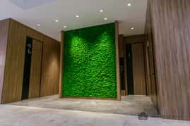 Moss wall decor in shopping center
